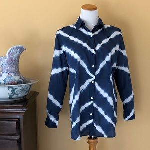 CHAPS Blue White Tie Dye Button Front Shirt MED